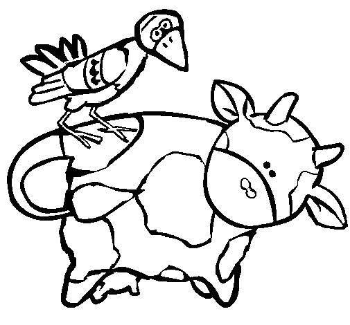 Cow and bird coloring page