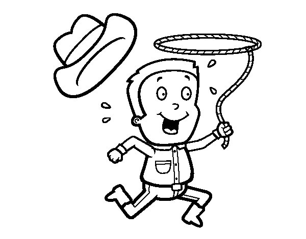 Cowboy with rope coloring page