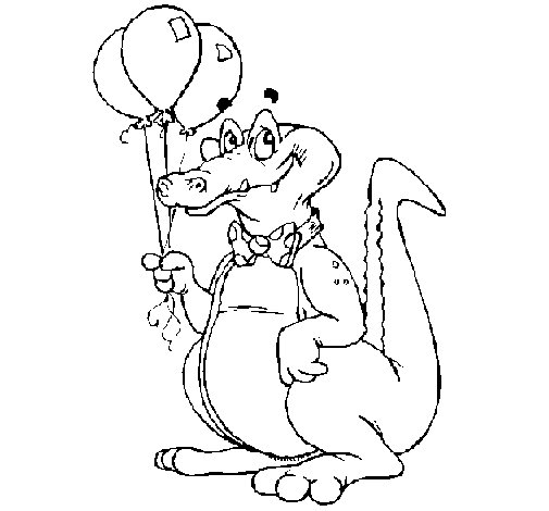 Crocodile with balloons coloring page