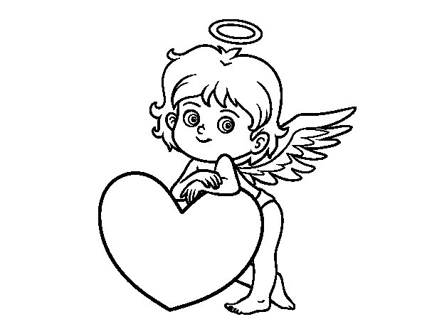 Cupid and a heart coloring page