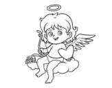 Dibujo de Cupido in a cloud