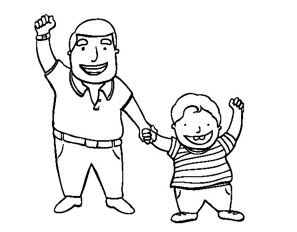 Dad and son coloring page