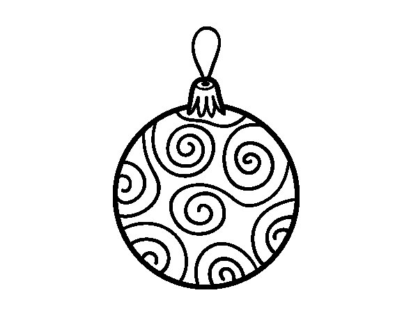 Decorated Christmas tree ball coloring page