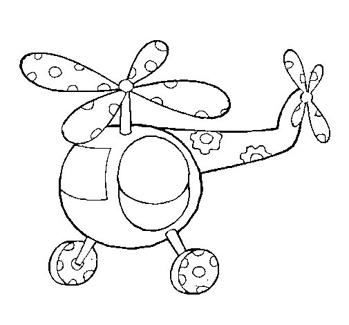 Decorated helicopter coloring page