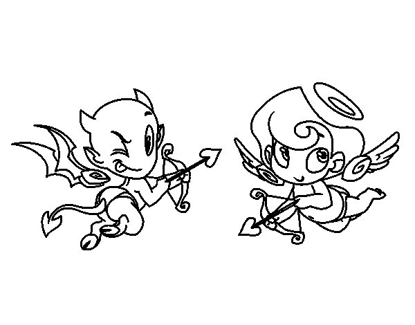 Devil and cupid coloring page