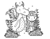 Dragon and princess coloring page