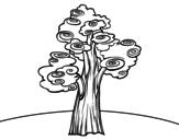 Fantasy tree coloring page