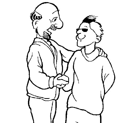 Father And Son Shaking Hands Coloring Page