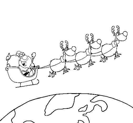 Father Christmas delivering presents 3 coloring page