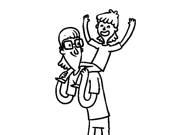 Father with glasses and son coloring page