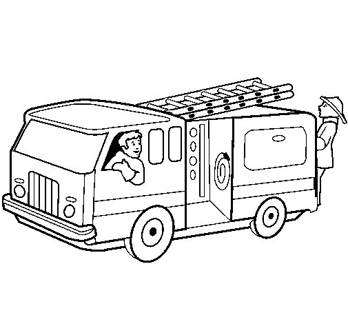 Firefighters in the fire engine coloring page