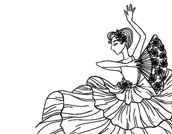 Flamenco woman coloring page