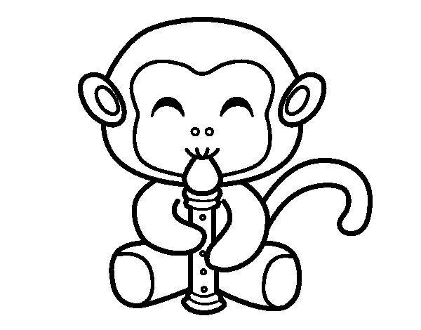 Flautist monkey coloring page