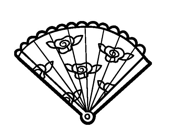 Floral hand fan coloring page