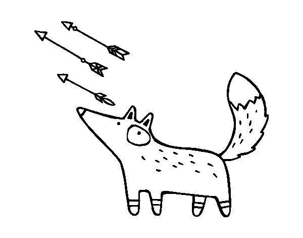Fox and arrows coloring page