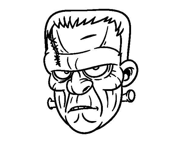 frankenstein head coloring pages - easy frankenstein head coloring coloring pages