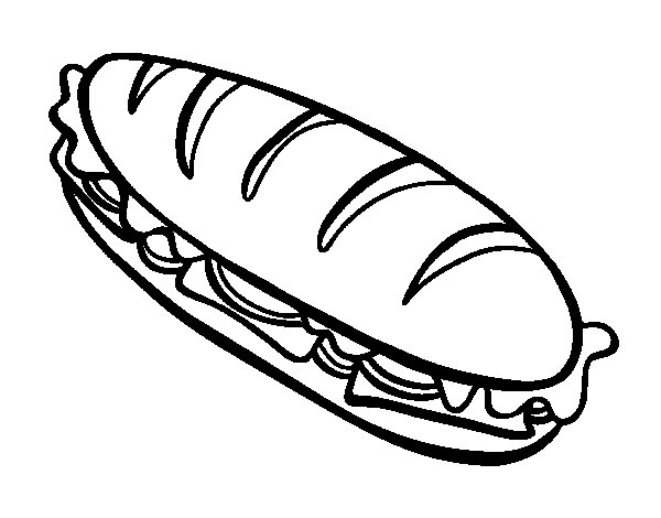 Full sandwich coloring page