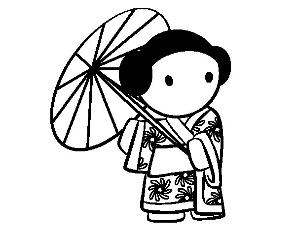 Geisha with lady's umbrella coloring page