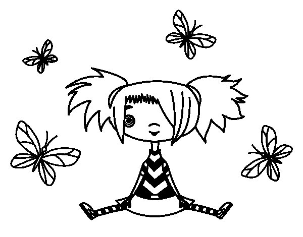 Girl with butterflies coloring page