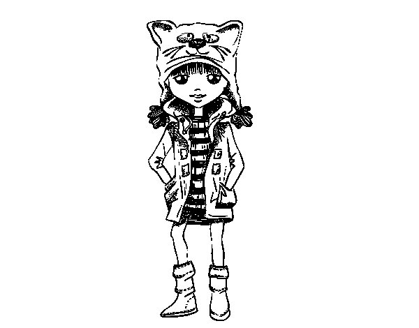 Girl with cat's hat coloring page