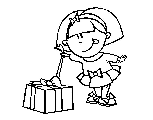 Girl with gift coloring page