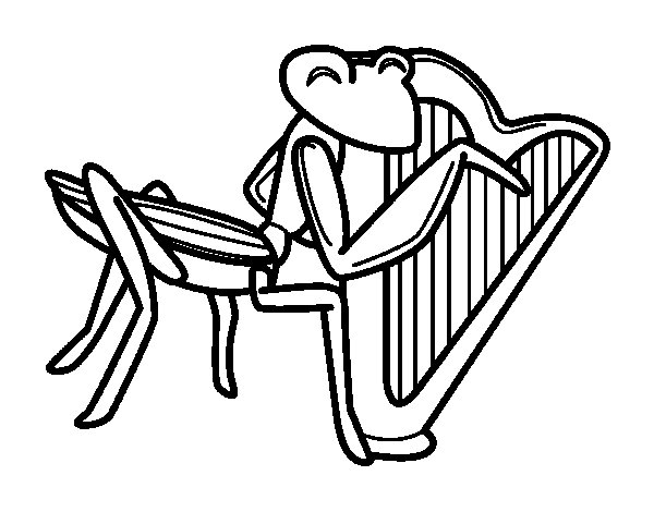 Grasshopper with harp coloring page