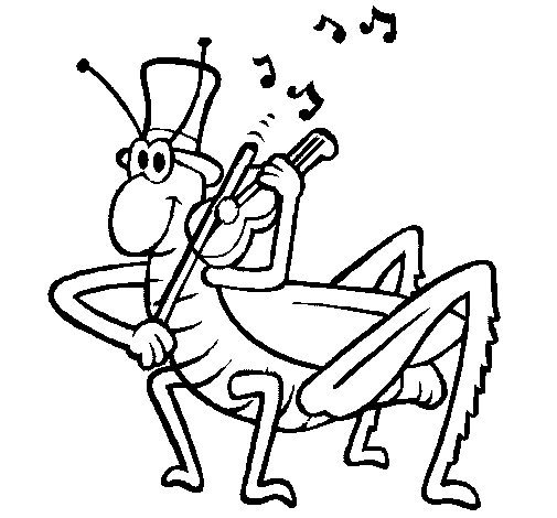 Grasshopper with violin coloring page