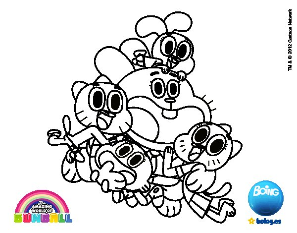 Gumball and happy friends coloring page