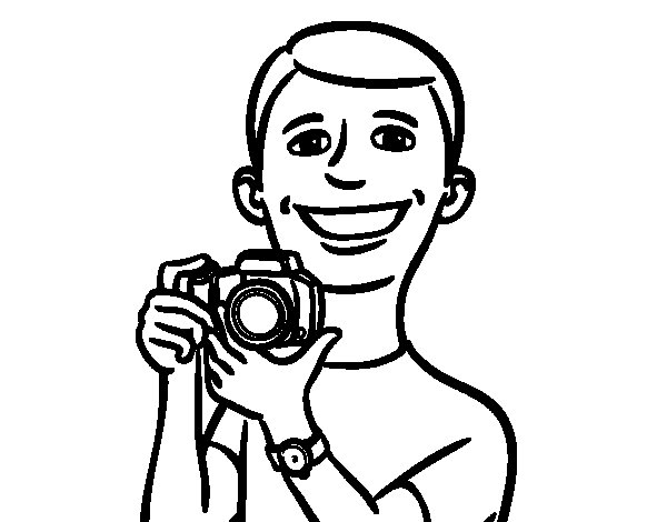 guy with camera coloring page coloringcrew com
