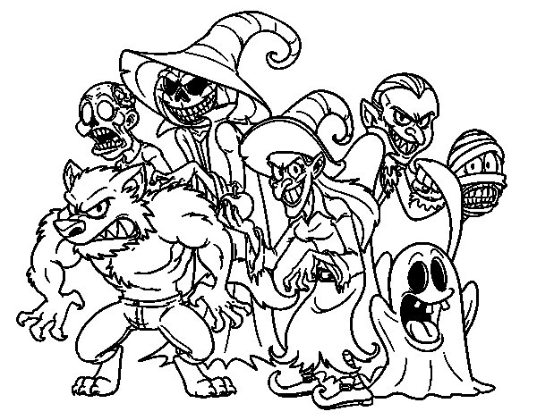 halloween monsters coloring page - Halloween Monsters Coloring Pages