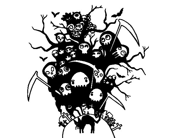 Halloween night coloring page