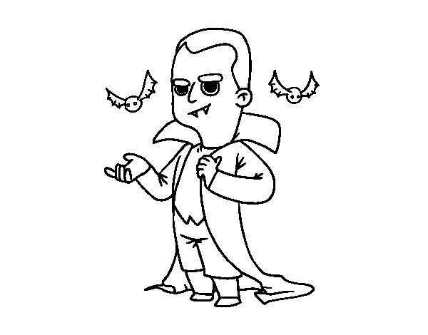 Halloween vampire costume coloring page