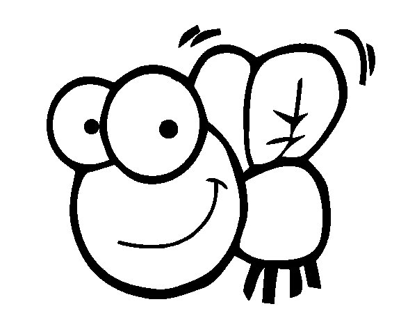 Happy fly coloring page