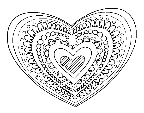 Heart mandala coloring page Coloringcrewcom