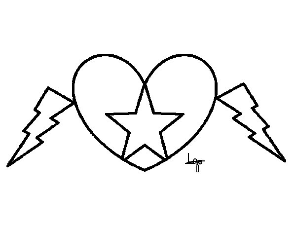 heart and star coloring pages | Heart star coloring page - Coloringcrew.com