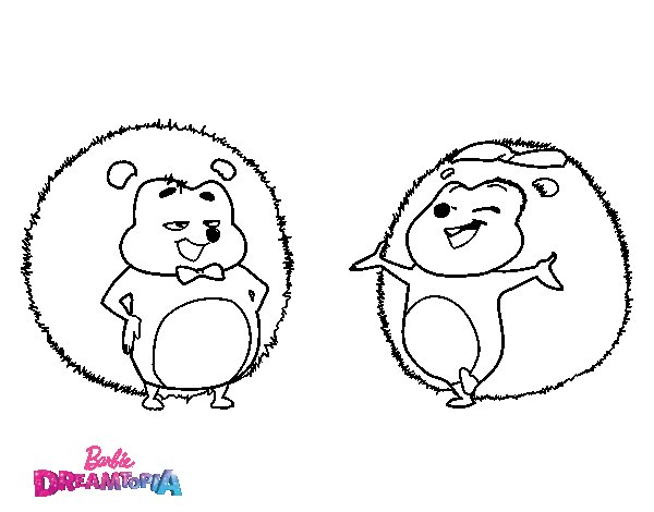 Hedgehogs Heberto y Hazel coloring page