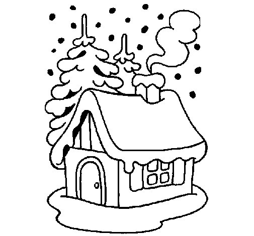 House in snow coloring page