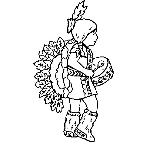 Indian with drum coloring page