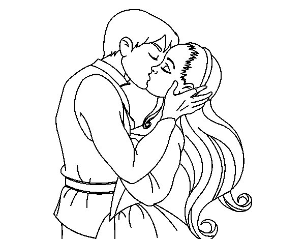 Kiss of love coloring page