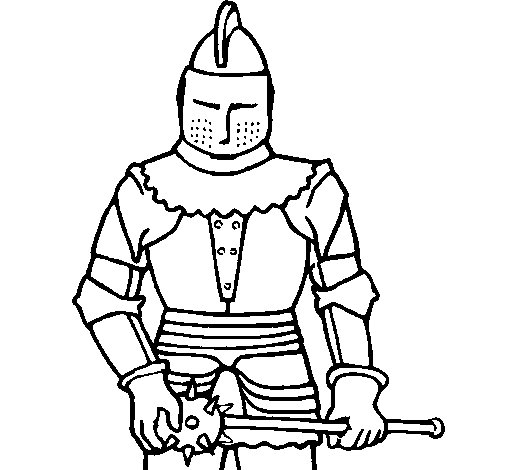 Knight with mace coloring page