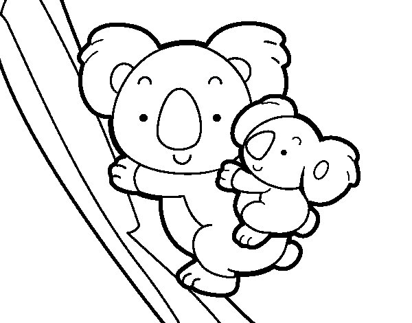Koala mother coloring page