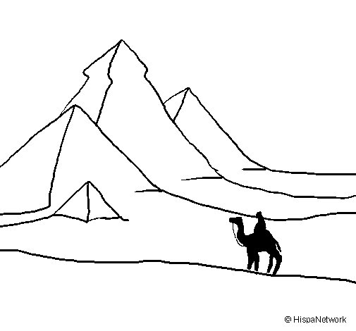 Landscape with pyramids coloring page
