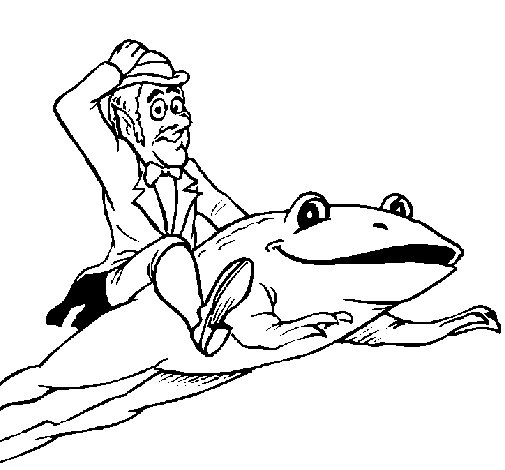 Leprechaun and frog coloring page