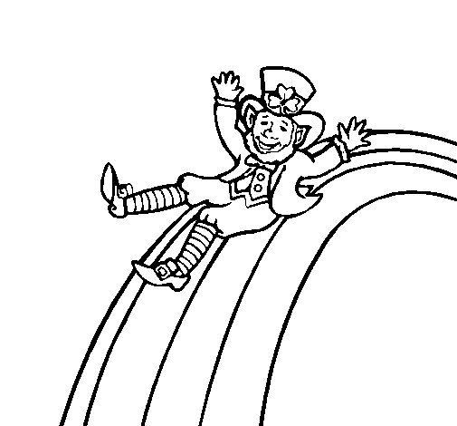 Leprechaun on a rainbow coloring page
