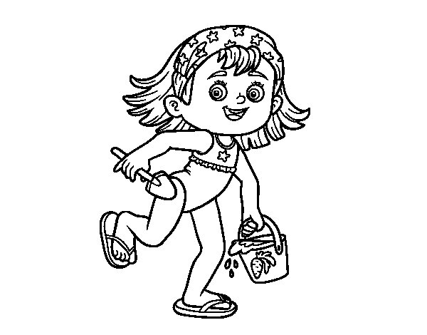 Little girl with beach bucket and spade coloring page