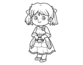 Little girl with elegant dress coloring page