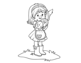 Little girl with kitten coloring page