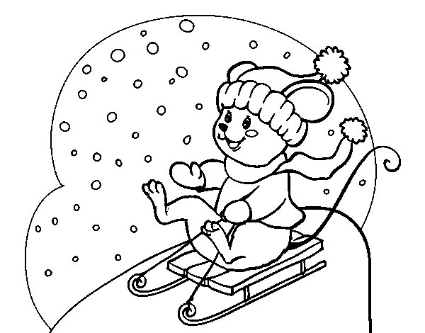Little rat in bobsleigh coloring page