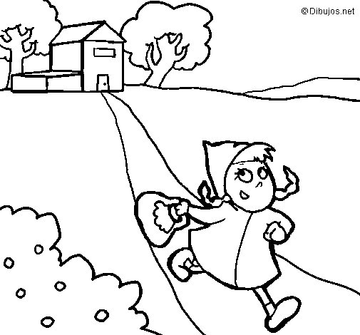 Little red riding hood 3 coloring page