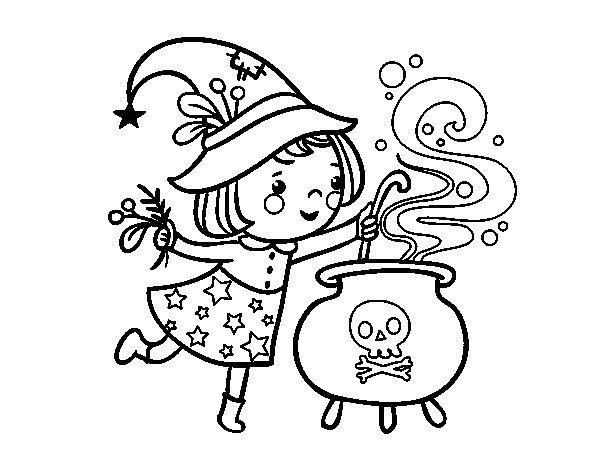 Little witch with potion coloring page